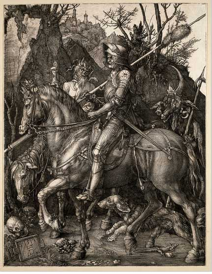 Albrect Durer engraving with knights and a dog