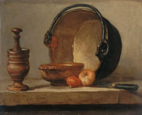Chardin painting, still life with pepper grinder