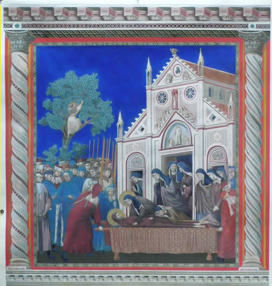 Giotto paintings: compianto delle clarisse digitally repainted