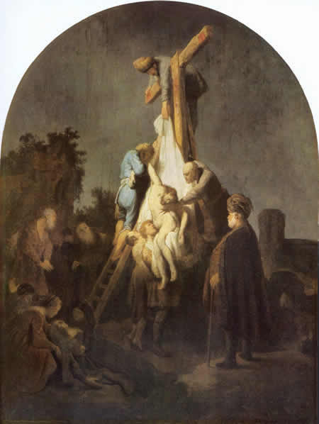 Rembrandt painting, deposition from the cross
