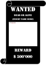 wanted poster template white text on black background decorated