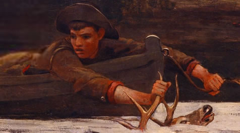 winslow homer painting hound and hunter 1892, detail