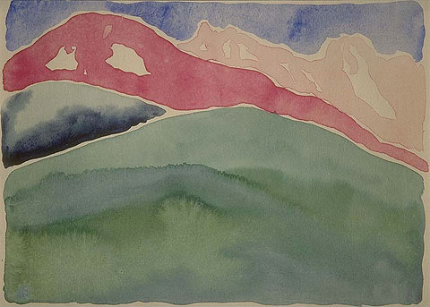 George o keefee pink and green mountain