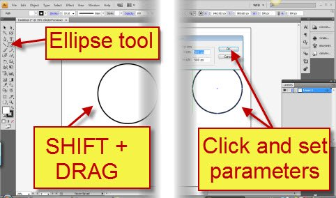 how to draw a circle in aDOBE ILLUSTRATOR 2 ways