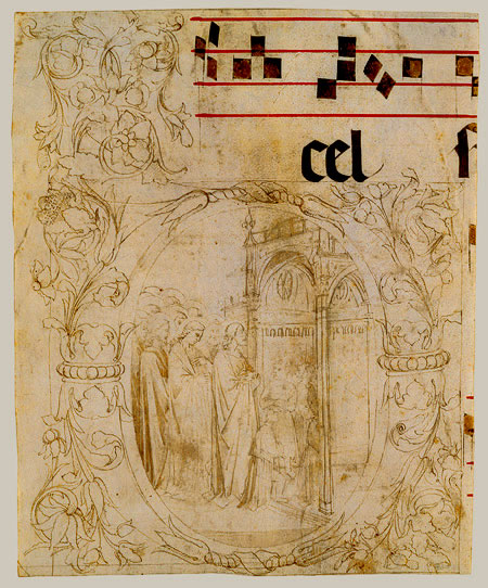 medieval drawing. miniature of a letter D