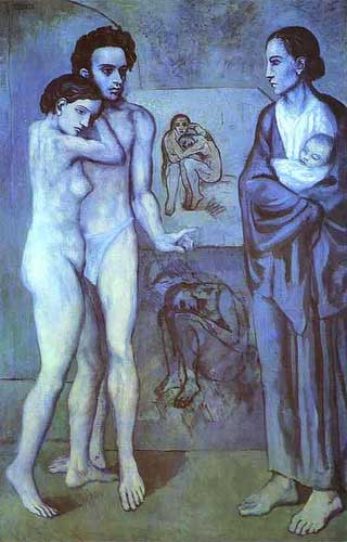 "the famous ""la vie"" by Pablo Picasso is one of his masterpeices of the blue period"