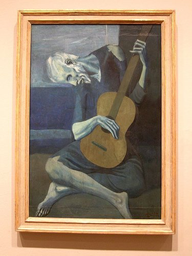 PAblo Picasso Old Guitarist from 1903, blue period