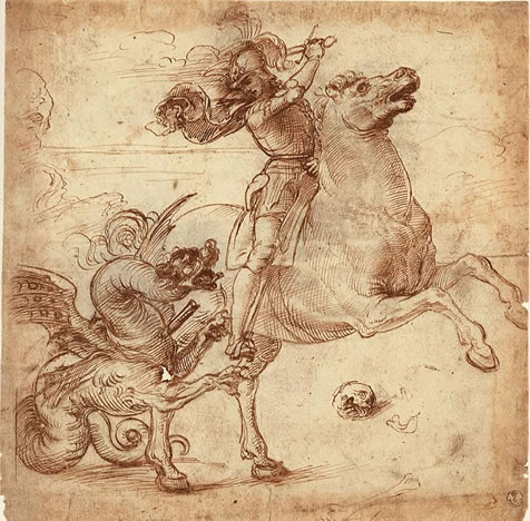 Raphael drawing of St. george and the Dragon