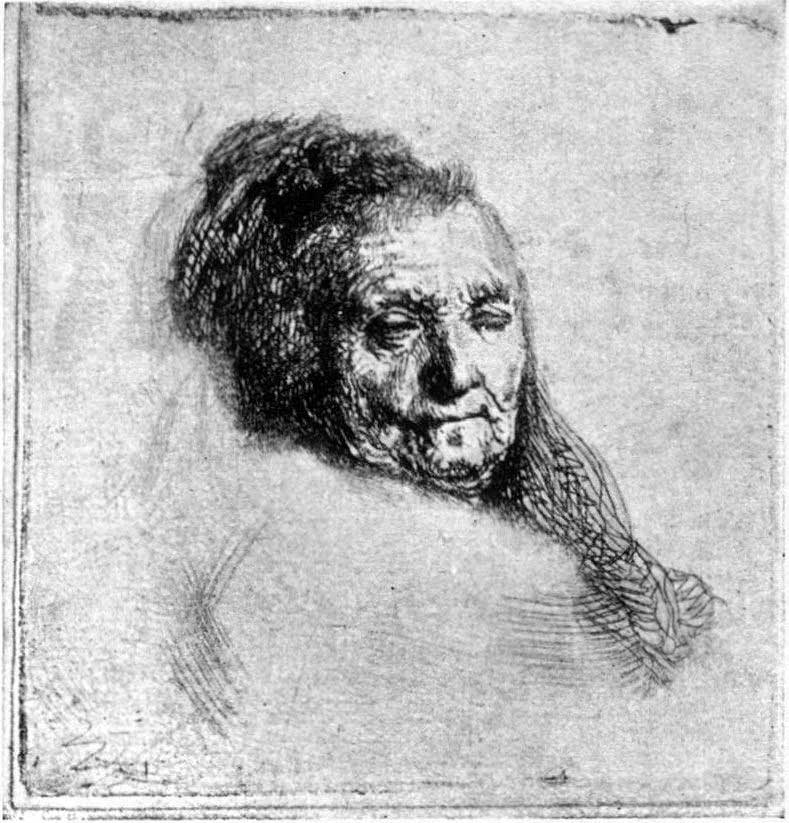 Rembrandt Drawing of his mother