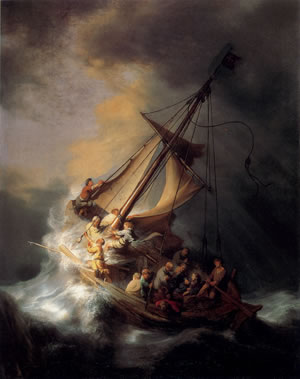 Rembrandt Painting, Storm on the Galilee sea