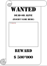 Wanted Poster Template Decorated  Printable Wanted Poster Template