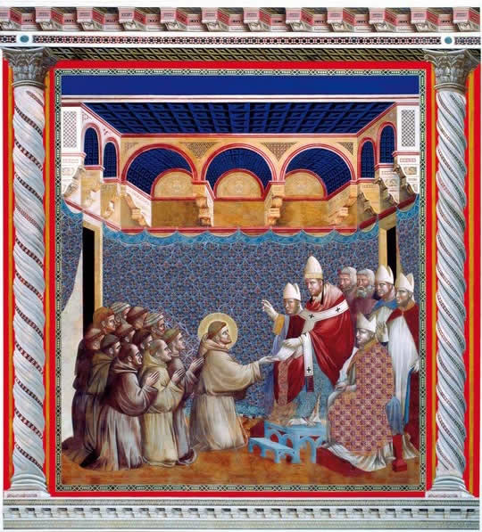 INNOCENZO III blesses St. Francis and his order, repainted