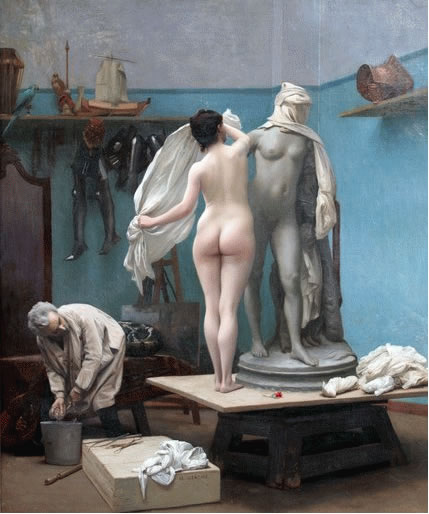 jean-leon gerome the end of the sitting, neo classic painting