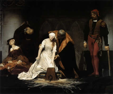 Paul Delaroche, execution of lady Jane Grey, 1834