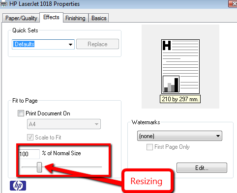 resizing printing explained