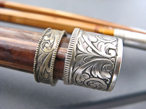metal hand engraved fishing rod butt