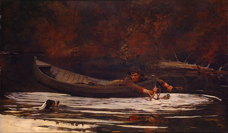 winslow homer painting, hound and hunter, 1892