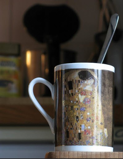gustav klimt reproduction on cup