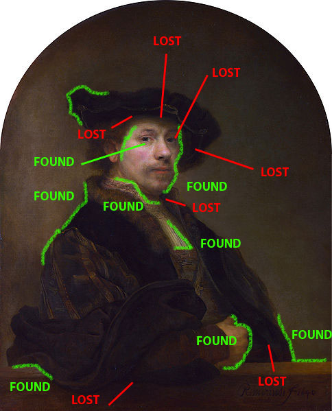 lost and found edges in Rembradt selfportarit at age 34
